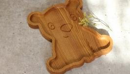 Деревянная детская тарелка в подарок ребенку