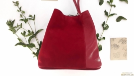 Fashionable genuine leather women′s bag (red)