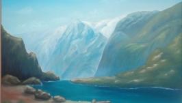 Горы в Швейцарии. Картина маслом