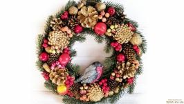 Рождественский венок со снегирем d-36см Новогодний декор на двери