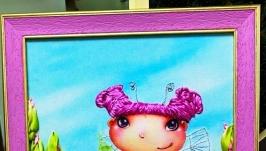 миниатюрка ′Феечка Розочка′- вышивка лентами