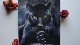 Картина акварелью Черная пантера
