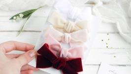 Бархатные бантики - резинки, заколки для девочки