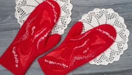 Felted wool mittens ′About Love′, warm women′s mittens, Felt Wool Gloves