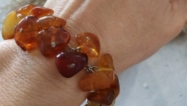 Браслет стальной из натурального янтаря  ′Подарок солнца′