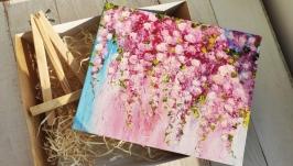 тут изображено Подарочный набор для нее, картина Розовые цветы