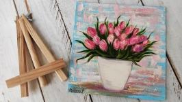 тут изображено Подарочный набор, картина Тюльпаны, подарок для нее