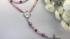 Розарій,вервиця, рожевий кварц,аметист,гематит