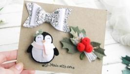 Детские новогодние заколки для девочки  Заколка пингвин