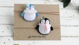Новогодняя повязка с пингвином для девочки  Зимняя детская повязка