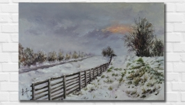 Картина маслом ′Первый снег′ 30х45 см, холст на подрамнике, масло