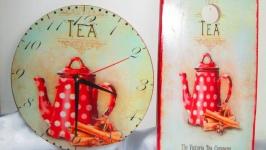 Набор для кухни: настенные часы и разделочная доска ′Приятное чаепитие′