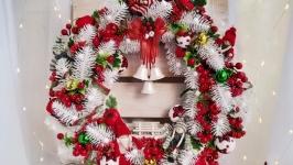 Новорічний білий вінок, Різдвяний вінок, зимовий вінок, хвойний вінок