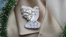 White brooch bird dove