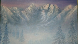 Рассвет в горах. Картина маслом