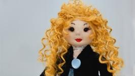 Кукла ручной работы с вьющимися волосами, Тряпичная кукла