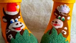 Домашние чуни ′Новогодние коровки′