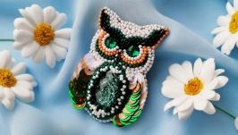Beautiful owl beaded brooch