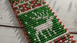 Браслет зелений з оленем