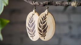 Natural Wooden Fern Dangle Earrings. Pyrography Earrings for Women Handmadе