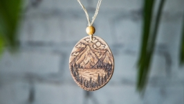 Wooden pendant Mountains. Wooden necklace pyrography. Wooden Pendant.