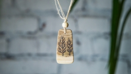 Natural Small Wood Pendant. Wooden Necklace Trees. Pyrography Pendant.