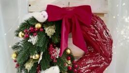 Новорічний червоний вінок, Різдвяний великий вінок