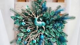 Новорічний декор, павич декор, павич вінок, різдвяний вінок