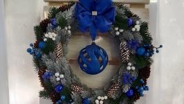 Новорічній вінок, синій вінок, різдвяний вінок