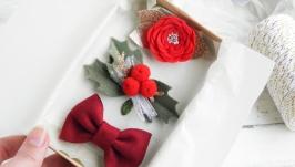 Детские новогодние заколки для девочки Подарочный набор заколок