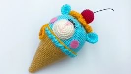 Мороженое - мишка, вязаная игрушка, бирюзовый