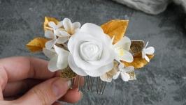 Гребень с цветами новогодний  Золотой гребешок с розой