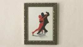 Вышитая картина для интерьера дома Картина в раме Картина для кафе Танго