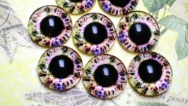 Glass cabochons, eyes for toys 8 mm No.90