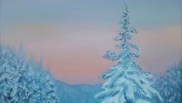 Картина маслом. Зимний лес на рассвете