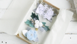 Новогодние заколки для девочки, Заколка снежинка, Набор резинок