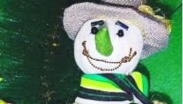 ′Снеговик в шляпе′ авторская ёлочная игрушка