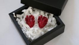 Сережки пусети анатомічне серце подарунок на Хелловін або 14 лютого