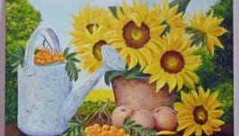Картина маслом натюрморт Лейка и подсолнухи