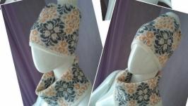 Комплект женский: шапочка и снуд.