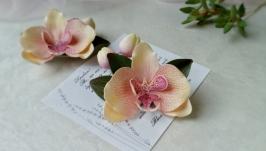 Заколка для волос орхидея ручной работы