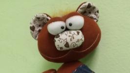 ЭД. Мишка текстильный пучеглазый интерьерный. Ручная работа.
