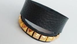 Кожаный браслет (пара браслетов) ′BlackGold′