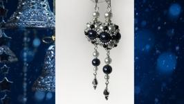 Серьги длинные ′Night Blue′