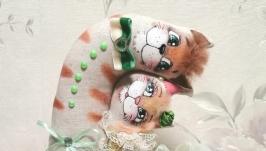 тут изображено Неразлучники котики льняные