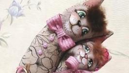 тут изображено Котики неразлучники из итальянской льняной ткани