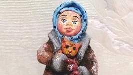 тут изображено Ватная елочная игрушка Дарьюшка с котенком