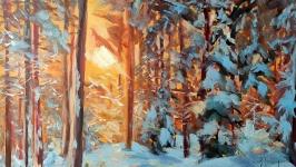 картина маслом живопис зимовий ліс