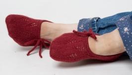 Носки следки вязаные бордовые, тапочки вязаные с завязками