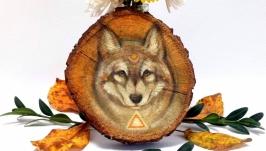 Подвеска декор из дерева авторская иллюстрация ′Волк′ тотем украшение декор